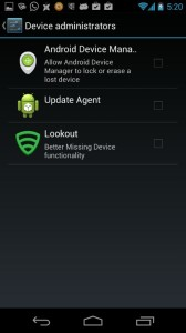 Security Device Admins List Showing Lookout Is Not an Admin