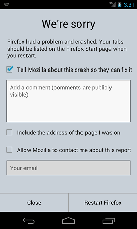 Firefox Crash Reporter