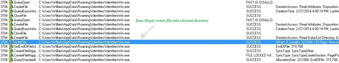 ZeuS.Maple builds its desired name out of the QueryDirectory request