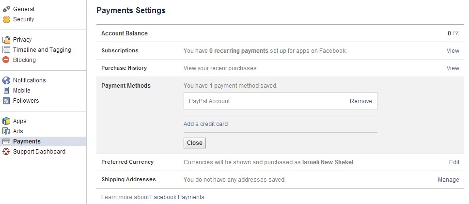 Facebook Payment Settings