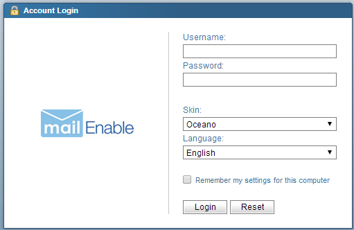 Example of a webmail system login page