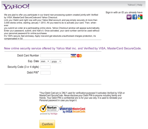 Zeus P2P malware webinject presented to Yahoo email users