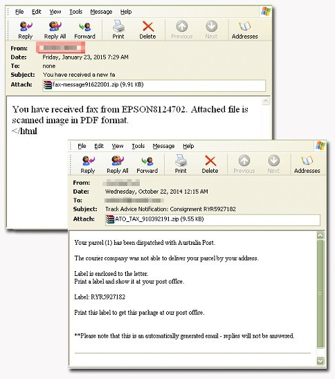 Figure 1 examples of the spear-phishing emails as provided in the TrendMicro blog