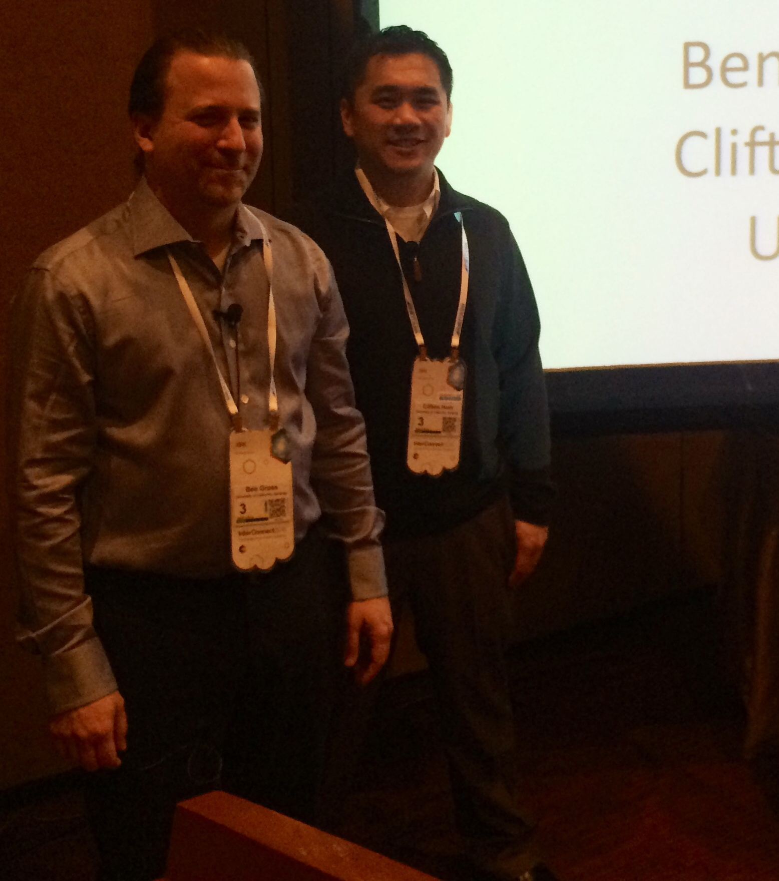 Ben  uncouth and Clifton Hom of UC Berkeley's IT department at IBM InterConnect 2015