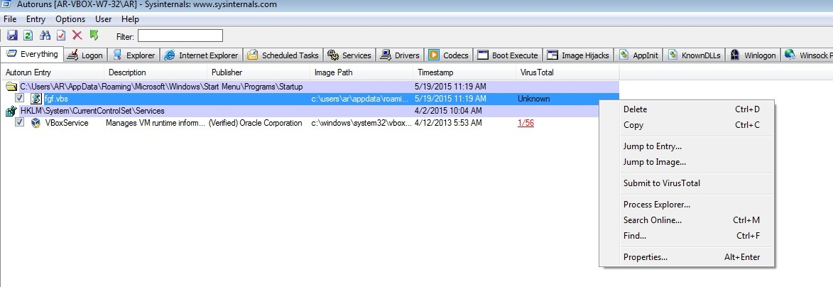 A visual basic script is seen in the startup folder and VirusTotal does not know about it