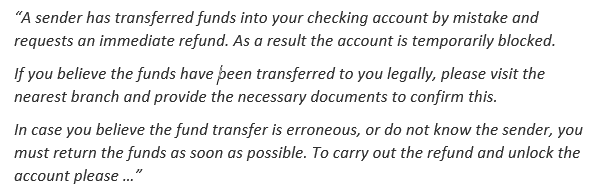 Victim is presented with a fake message while browsing the banks web-site