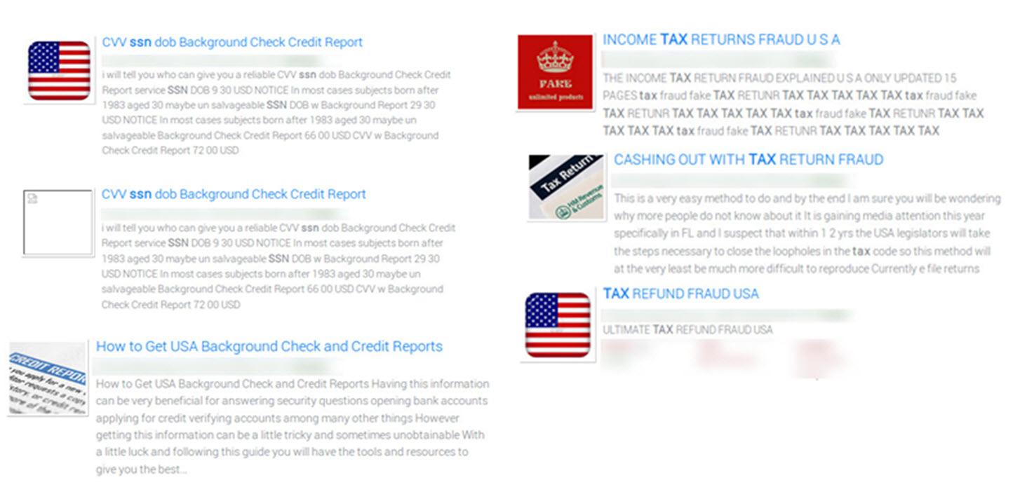 Tax Fraud Websites from the Dark Web