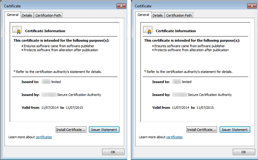 Security Certificate Information