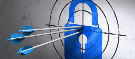 Three arrows hitting a bull's eye with a lock at the center.