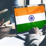 An Indian flag on a computer screen.