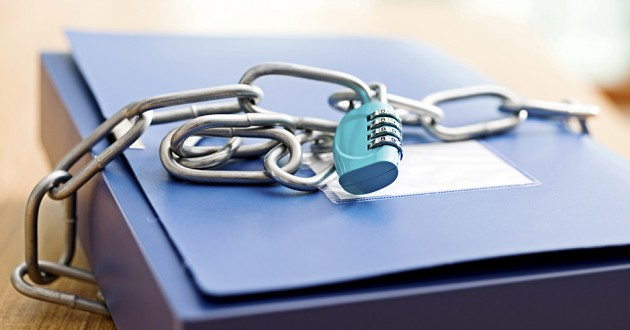 A file folder locked in chains.