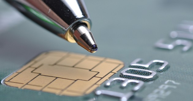 An EMV chip on a credit card.