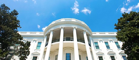 A photo of the White House in spring.