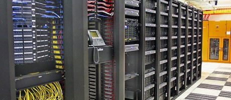 An aisle in a server room.