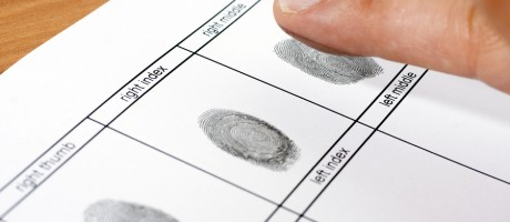 A close-up of the fingerprinting process.