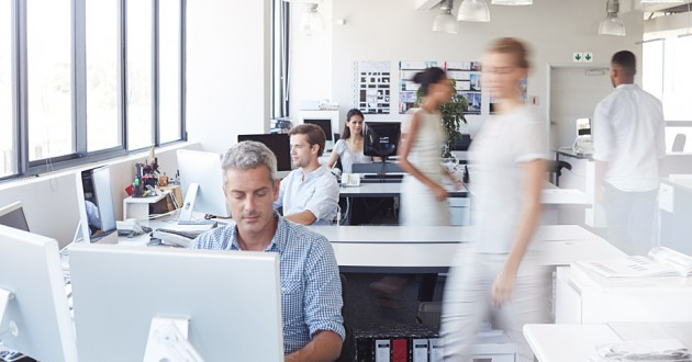 Workers in a modern office.