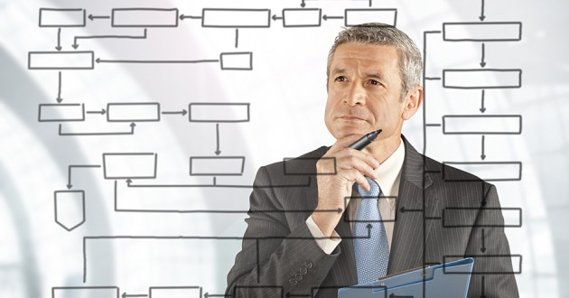 A businessman analyzing a flow chart.