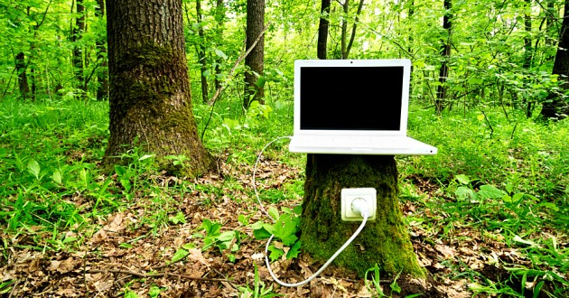A laptop computer plugged into a tree stump in a forest.