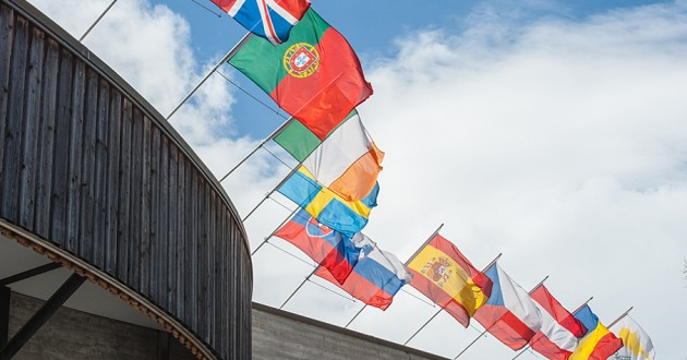 International flags in Davos, Sweden.