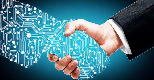 Digital handshake on blue background.