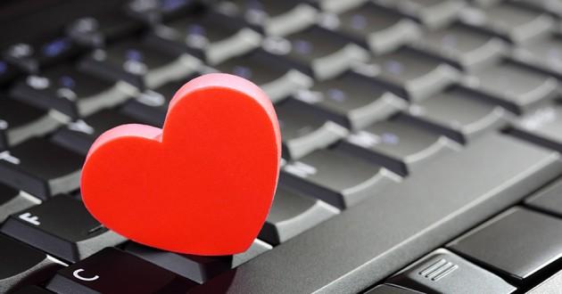 A heart shape on a computer keyboard.