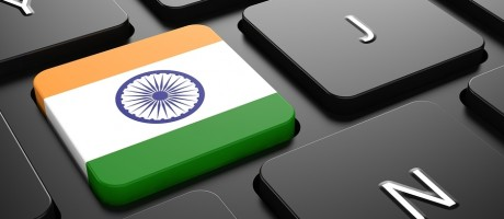 An Indian flag pictured as a key on a computer keyboard.