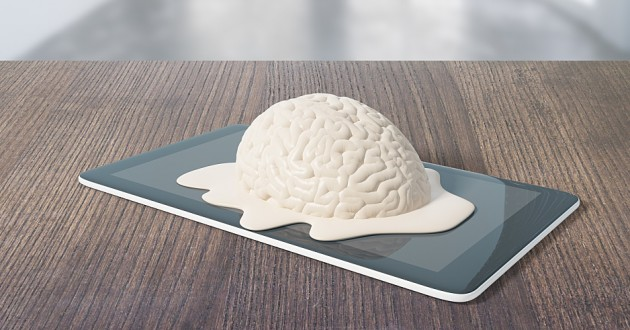 A melted brain model on a smart tablet.