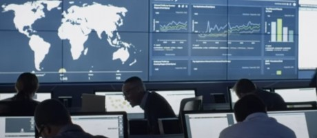 Security analysts working in a security operations center.