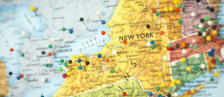 A map of New York state.