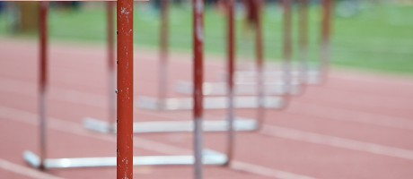 A perspective shot of hurdles.