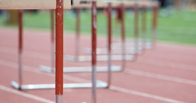 A perspective shot of hurdles.