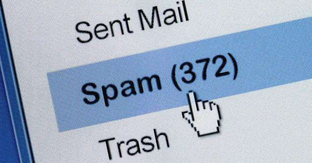 Cursor over spam email folder.