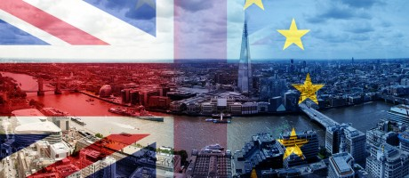 U.K. and EU flags overlayed on an image of London.