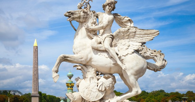 Statue of Mercury on Pegasus in Paris.