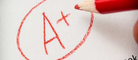 An A-plus grade circled in red pencil on a printed white document.