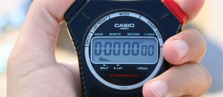 A stopwatch showing zeros.