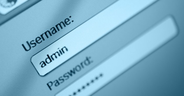 A login box with an entered admin username and a password.