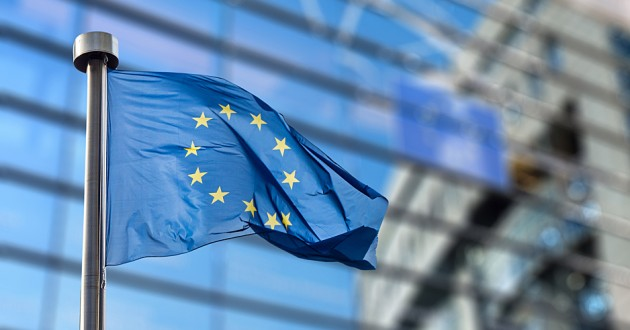 European Union flag in front of a building.
