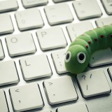 A worm on a laptop keyboard.