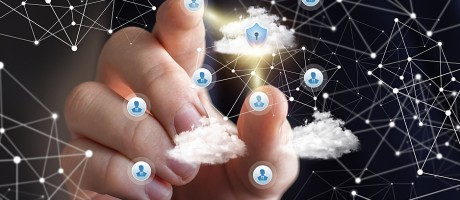 A hand pointing to icons representing user access to cloud technologies.
