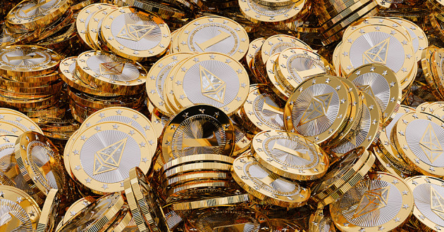 Cryptocurrency represented as physical coins.