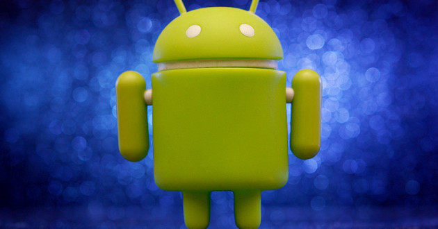 The green Android logo against a blue background.