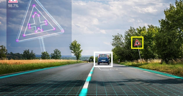 A concept of a computer vision system identifying road signs.
