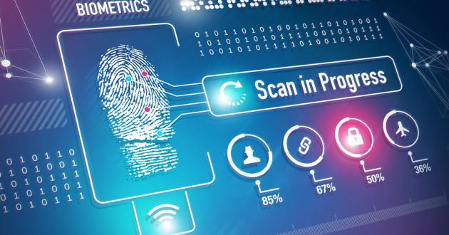 A biometric fingerprint scan taking place on a computer screen.