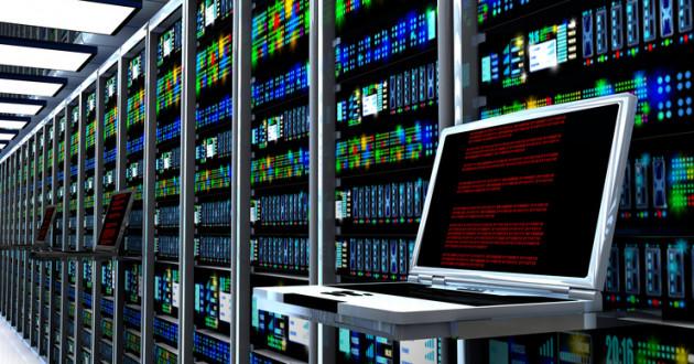 Server room interior in data center.