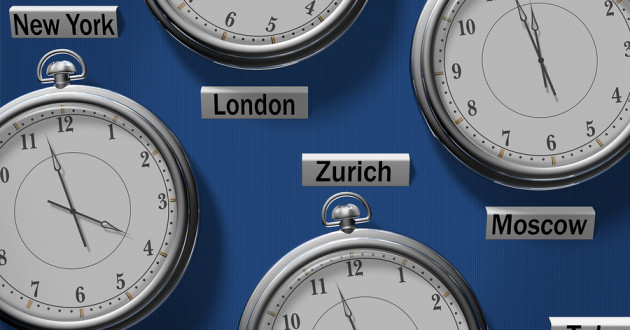 A series of clocks displaying the time in different locations around the globe.