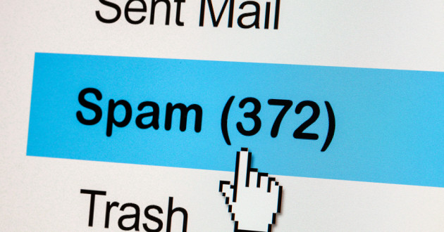 Closeup of email options with the cursor selecting the spam folder.