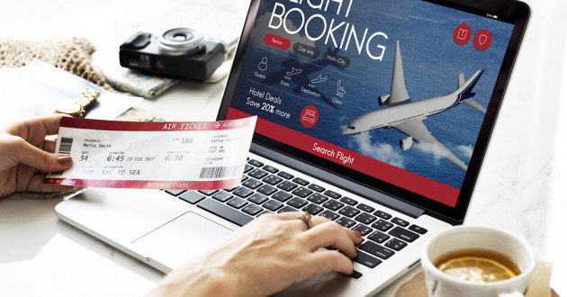 A customer booking a flight online.