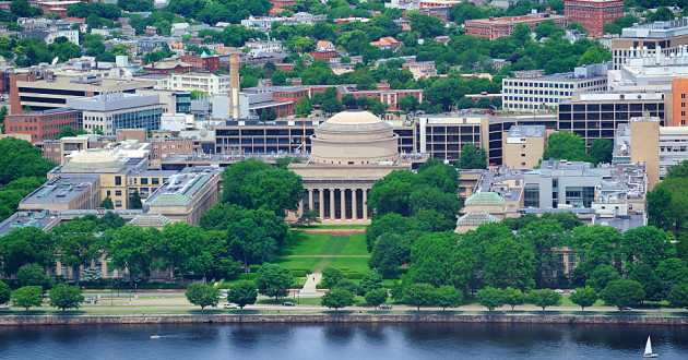 Aerial shot of MIT campus from across the Charles River.